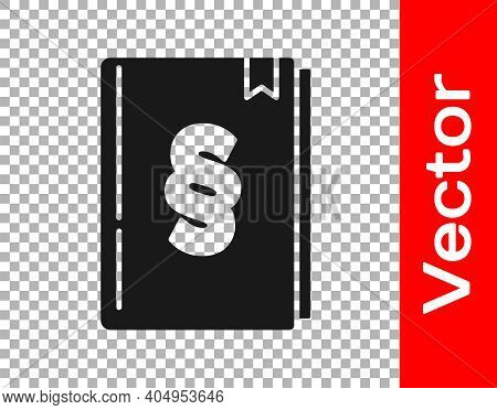 Black Law Book Icon Isolated On Transparent Background. Legal Judge Book. Judgment Concept. Vector