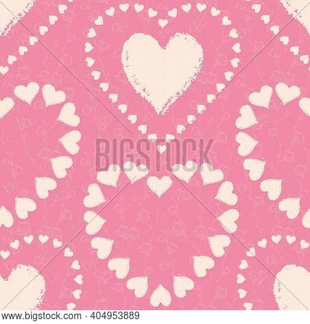 Vector Pink Hearts Flowers Ecru Seamless Pattern