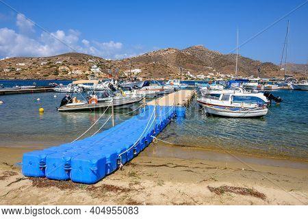 Ios, Greece - September 22, 2020: Boat Dock Gangway In Marina Of Ios Island. Cyclades Islands, Greec