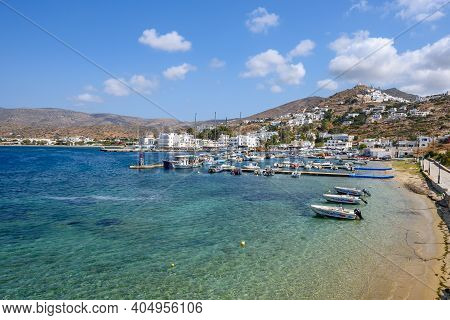 Ios, Greece - September 22, 2020: View Of The Port And Bay Of Ios Island On A Sunny Day Cyclades Isl