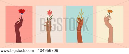 Set Of Female Hands Holding Beautiful Flowers Posters For Web, Print. Different Skin Colored Elegant