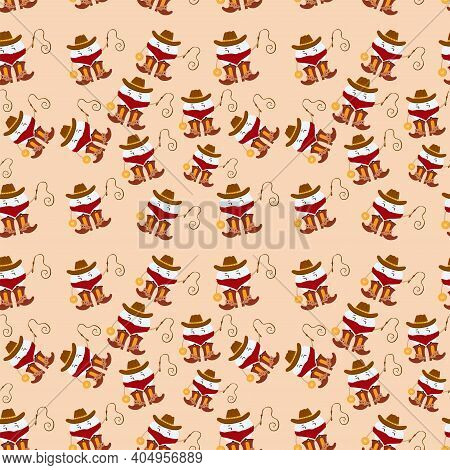 Seamless Pattern Tooth Fairy Cowboy. Cartoon Vector Illustration. Character In A Cowboy Hat And Cowb