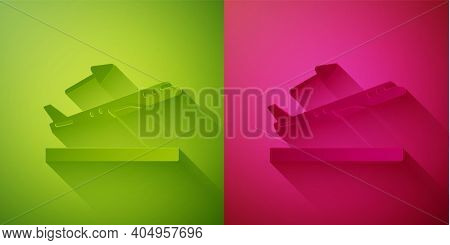 Paper Cut Plane Takeoff Icon Isolated On Green And Pink Background. Airplane Transport Symbol. Paper