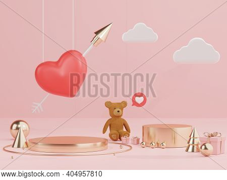 3d Rendering Of Minimal Scene Of Blank Podium With Valentine's Day Theme. Display Stand For Product