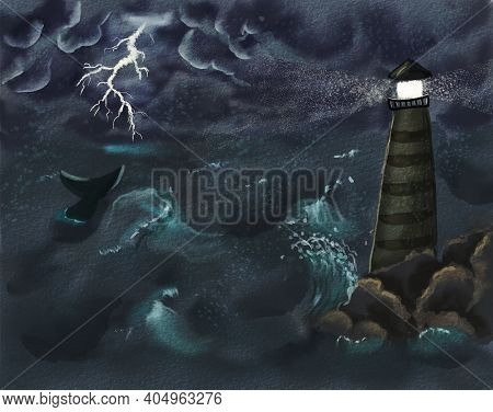 Storm And Thunder Over The Ocean. Lighthouse And Tail Of Whale. Hand Drawn Watercolor Illustration.