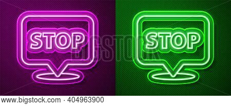Glowing Neon Line Protest Icon Isolated On Purple And Green Background. Meeting, Protester, Picket,