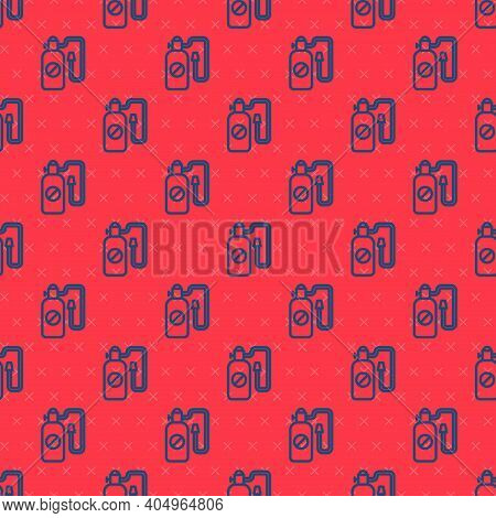 Blue Line Pressure Sprayer For Extermination Of Insects Icon Isolated Seamless Pattern On Red Backgr
