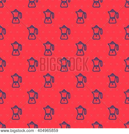 Blue Line Coffee Maker Moca Pot Icon Isolated Seamless Pattern On Red Background. Vector