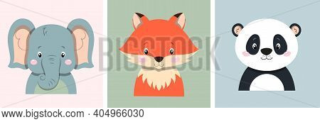 Cute Posters With Little Fox, Elephant, And Panda Bear Vector Prints For Baby Room, Baby Shower, Gre