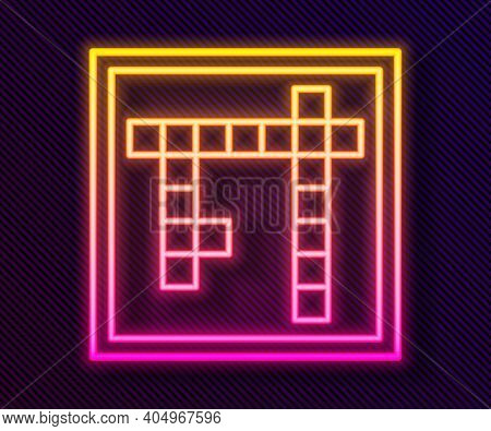 Glowing Neon Line Bingo Icon Isolated On Black Background. Lottery Tickets For American Bingo Game.