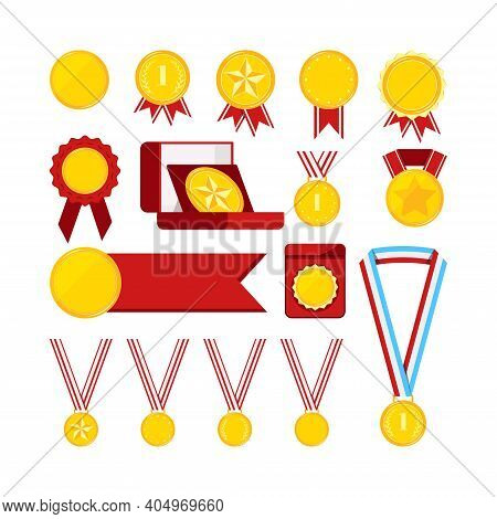 Gold Medals With Red Ribbon Set Isolated On White Background. Icon Award Golden Medallion Sign First