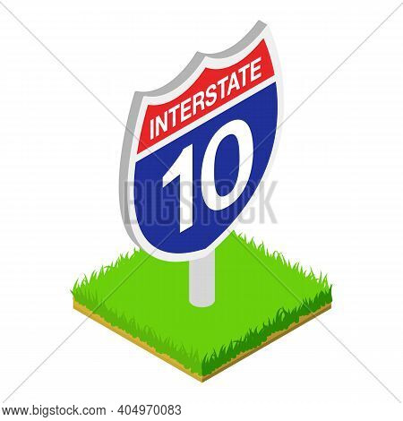 Interstate Sign Icon. Isometric Illustration Of Interstate Sign Vector Icon For Web