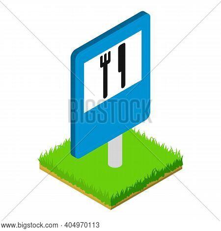 Restaurant Roadsign Icon. Isometric Illustration Of Restaurant Roadsign Vector Icon For Web