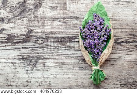 Bouquet Of Lavender In Paper Packaging With Copy Space For Text. Fresh Lavender Flower Greeting Bouq