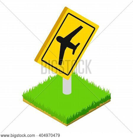 Airport Roadsign Icon. Isometric Illustration Of Airport Roadsign Vector Icon For Web