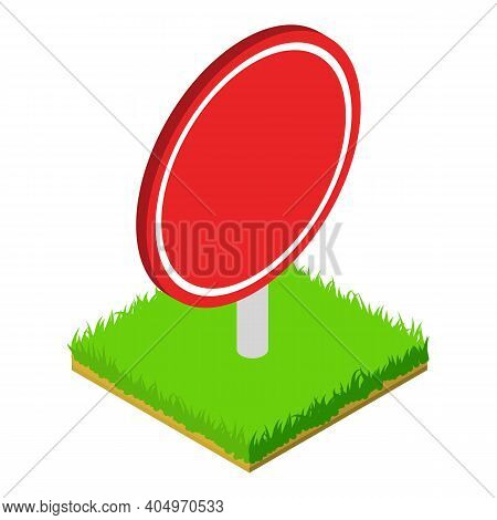 Red Roadsign Icon. Isometric Illustration Of Red Roadsign Vector Icon For Web
