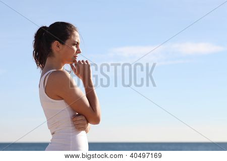 Beautiful Woman Thinking In Front The Sea
