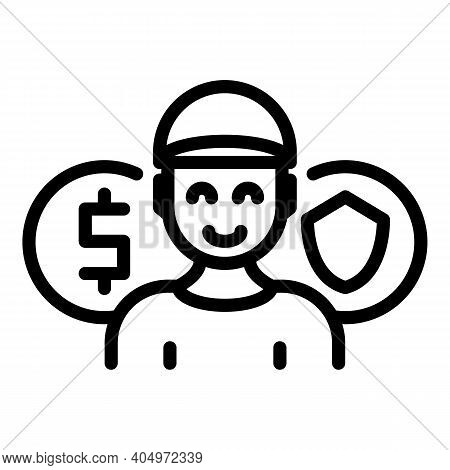 Agent Smiling Icon. Outline Agent Smiling Vector Icon For Web Design Isolated On White Background