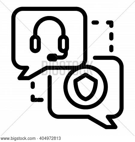 Agent Online Chat Icon. Outline Agent Online Chat Vector Icon For Web Design Isolated On White Backg