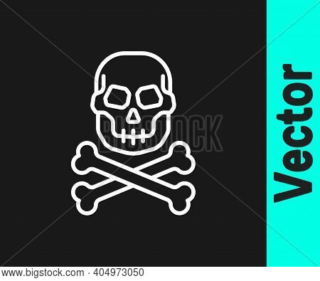White Line Skull On Crossbones Icon Isolated On Black Background. Happy Halloween Party. Vector