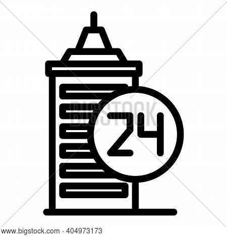 24 Hour Agent Building Icon. Outline 24 Hour Agent Building Vector Icon For Web Design Isolated On W