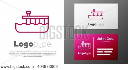 Logotype Line Beach Pier Dock Icon Isolated On White Background. Logo Design Template Element. Vecto
