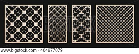 Laser Cut Panel. Vector Template, Abstract Geometric Pattern In Oriental Style. Elegant Round Grid,