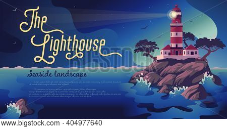 Lighthouse - Vector Landscape. Sea Landscape With Beacon On The Cliff. Vector Horizontal Illustratio