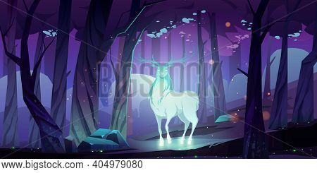 Mystical Glowing Deer Silhouette In Dark Forest At Night. Vector Cartoon Fantasy Illustration Of Sta