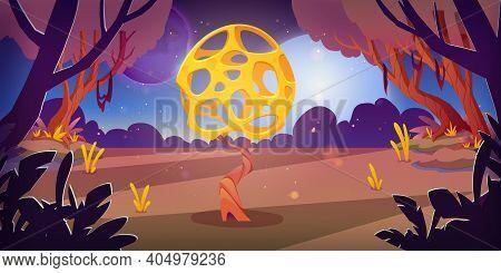 Unusual Mushroom In Forest Swamp On Alien Planet. Vector Cartoon Fantasy Illustration Of Fantastic Y