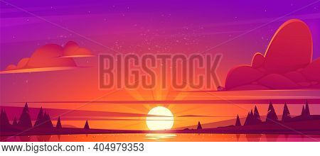 Sunset Landscape With Lake, Clouds On Red Sky, Silhouettes On Hills And Trees On Coast. Vector Carto