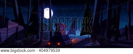 Car With Luggage On Roof On Road At Night. Vector Cartoon Landscape With Coniferous Forest, Highway,