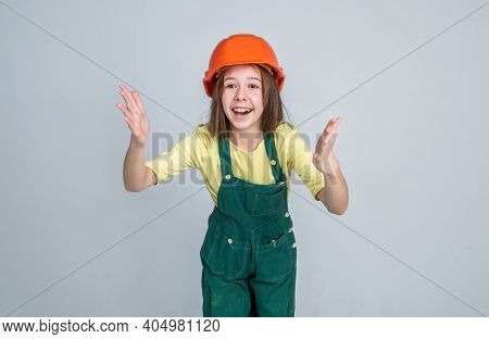 Build Your Future Yourself. International Workers Day. Electrician Is Her Career. Girl In Helmet Pla