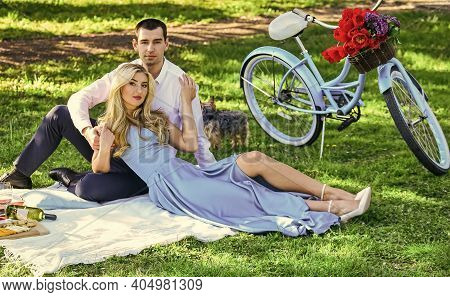 Playful Couple Having Picnic In Park. Couple Cuddling On Blanket. Happy Together. My Darling. Romant
