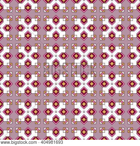 Seamless Geometric Oriental Ornament, Colored Bright Rhombuses And Squares. Pattern On A Mauve Backg