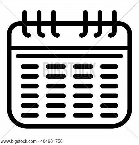 Calendar Slimming Icon. Outline Calendar Slimming Vector Icon For Web Design Isolated On White Backg