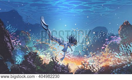 Woman Dive Underwater To See A Mysterious Light Under The Sea, Digital Art Style, Illustration Paint