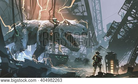 A Hunter Looked At The Captured T-rex In Abandoned Lab, Digital Art Style, Illustration Painting