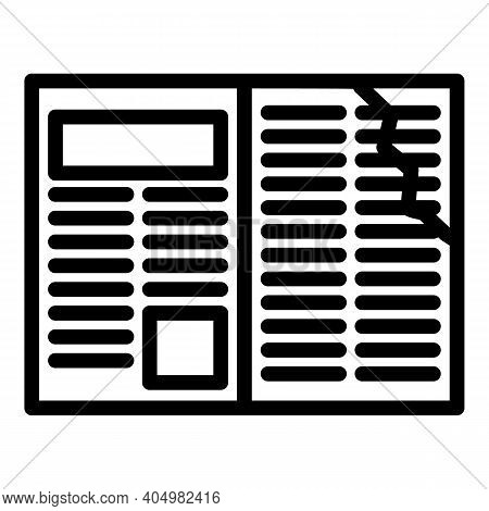 Newspaper Waste Icon. Outline Newspaper Waste Vector Icon For Web Design Isolated On White Backgroun