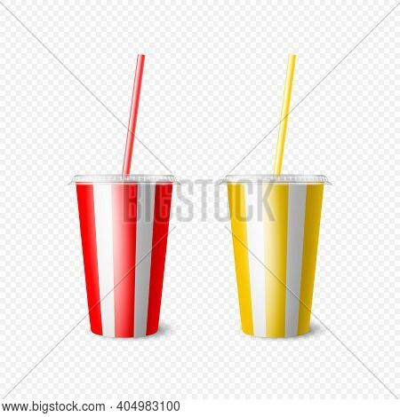 Vector 3d Realistic Paper Disposable Cup Set For Beverage, Drinks Isolated. Yellow, Red, White Strip