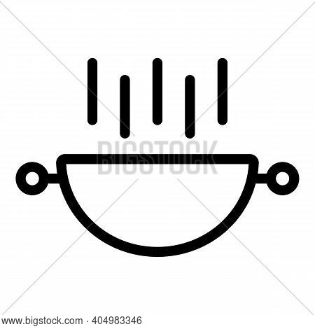 Meat Wok Frying Pan Icon. Outline Meat Wok Frying Pan Vector Icon For Web Design Isolated On White B