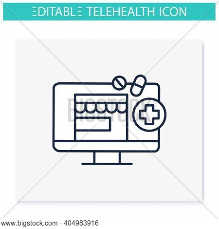 Telepharmacy Line Icon. Online Drugstore, Apothecary Website Or Application. Telehealth Medical Care