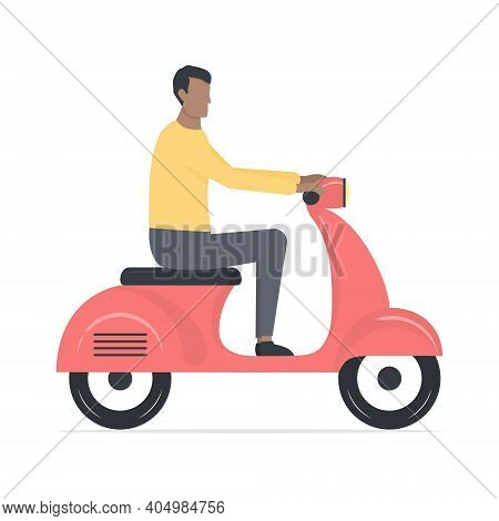 Young Cute African Man On Motor Scooter. Cartoon Black Skin Guy Character Riding On Red Motor Scoote