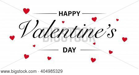 Happy Valentines Day. Baner Hand Drawn Text Lettering For Valentines Day. Love Icon . Vector Illustr