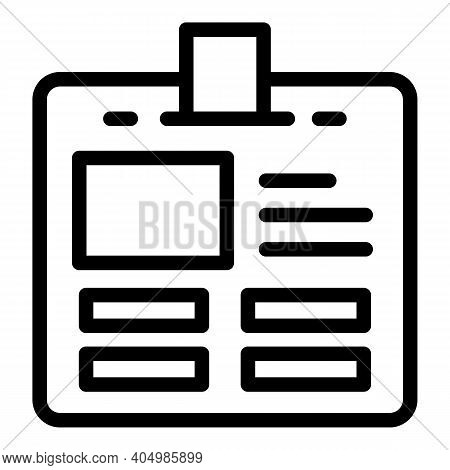Name Id Card Icon. Outline Name Id Card Vector Icon For Web Design Isolated On White Background