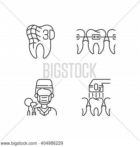 Dentistry Practice Linear Icons Set. Orthodontics Care Methods. Digital Dentistry Customizable Thin