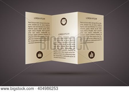 Business Paper Infographic Template With Folded Pamphlet Text And Icons On Dark Background Isolated