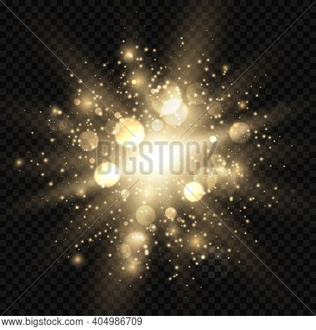 Star Burst With Sparkles And Bokeh. Golden Light Flare Effect With Stars, Sparkles And Glitter Isola
