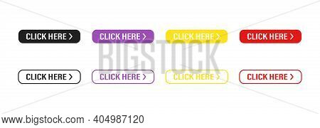 Click Here Button On White Background. Set Of Buttons . For Website Design. Social Media Interface.