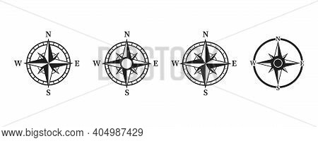 Compass Icon Set .collection Of Simple Compass Icons . Wind Rose Illustration On White Background. V
